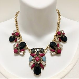 J. CREW FaB Cluster Drop Stone Statement Necklace